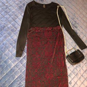 Black and Burgundy Velvet Body-con Skirt